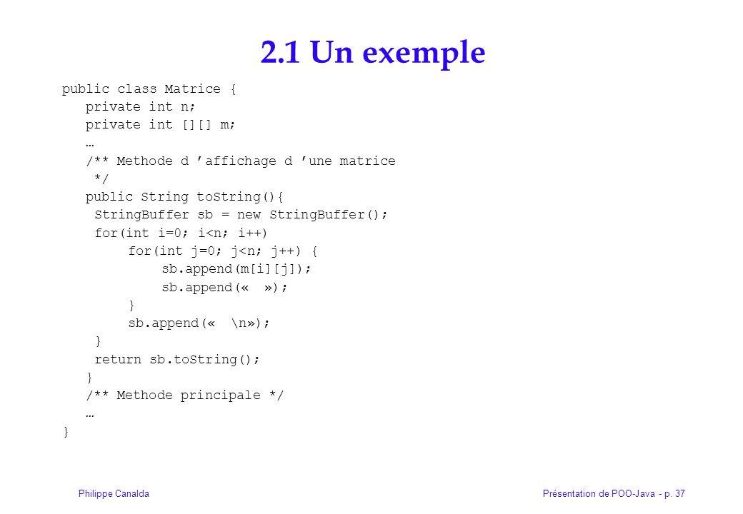 2.1 Un exemple public class Matrice { private int n;