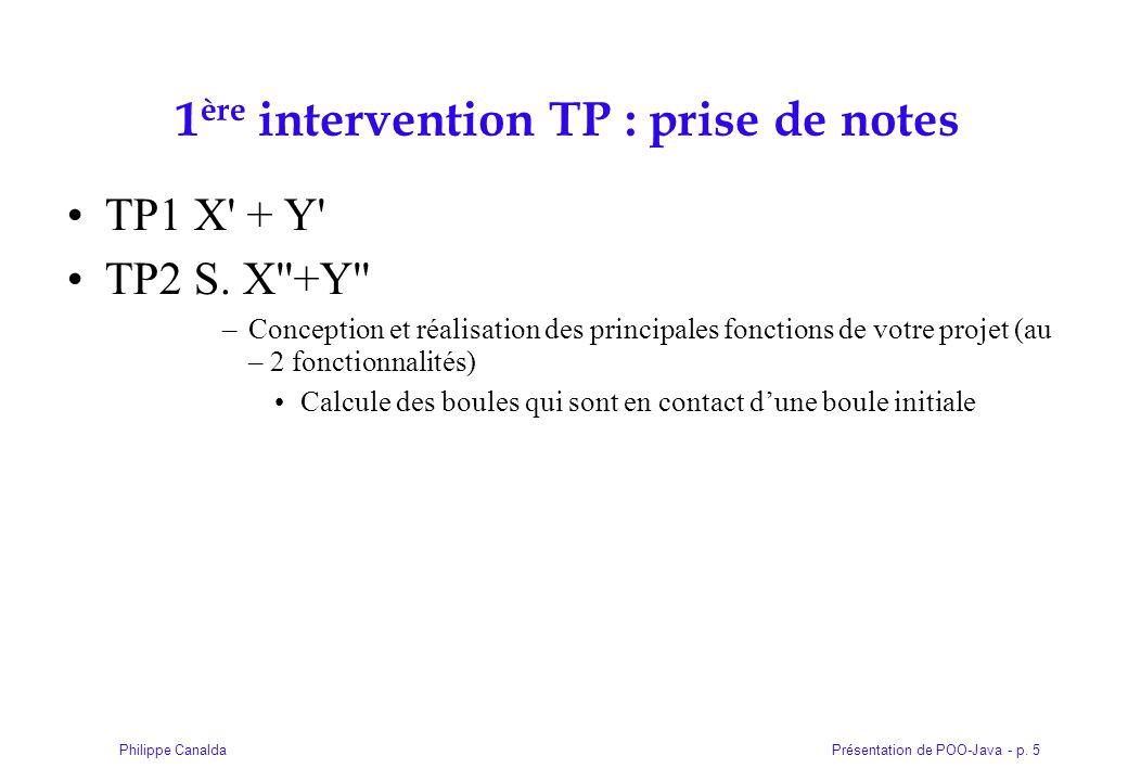 1ère intervention TP : prise de notes