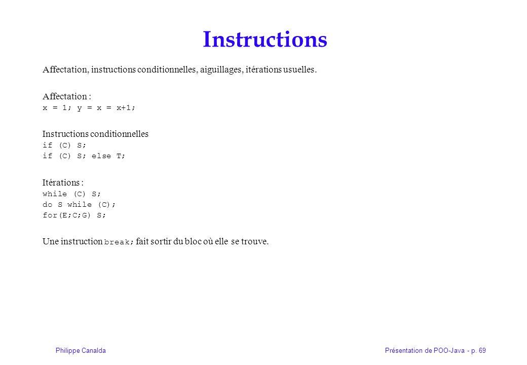 Instructions Affectation, instructions conditionnelles, aiguillages, itérations usuelles. Affectation :