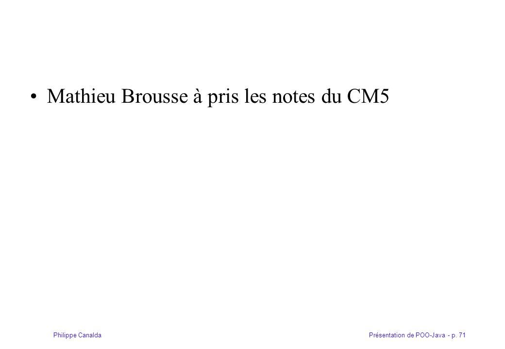 Mathieu Brousse à pris les notes du CM5