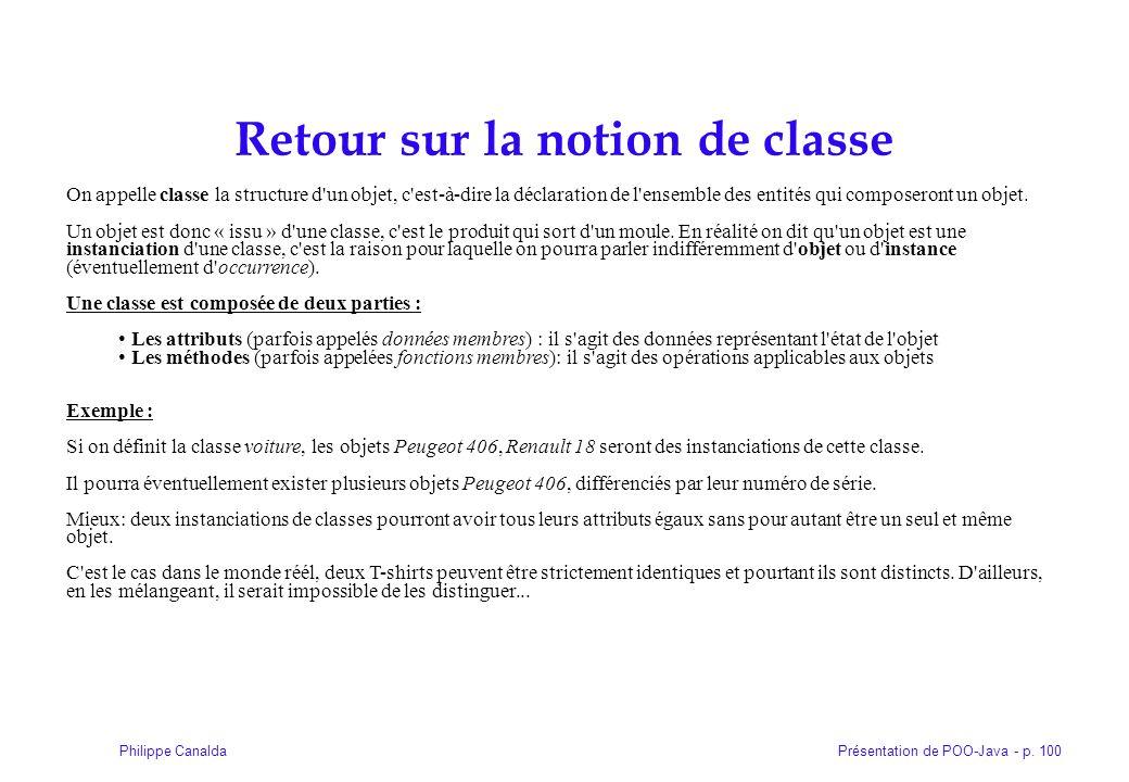 Retour sur la notion de classe