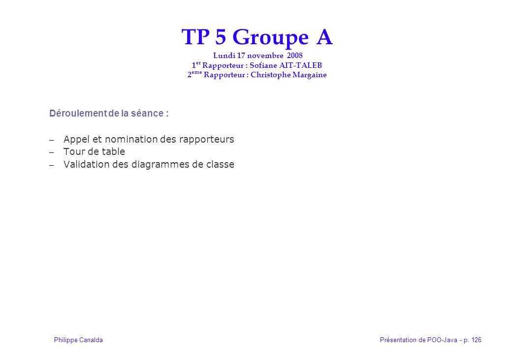 TP 5 Groupe A Lundi 17 novembre 2008 1er Rapporteur : Sofiane AIT-TALEB 2eme Rapporteur : Christophe Margaine