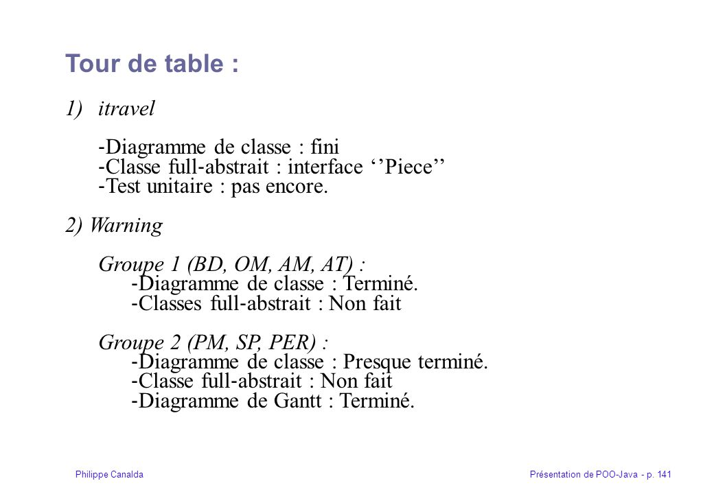 Tour de table : itravel ‐Diagramme de classe : fini