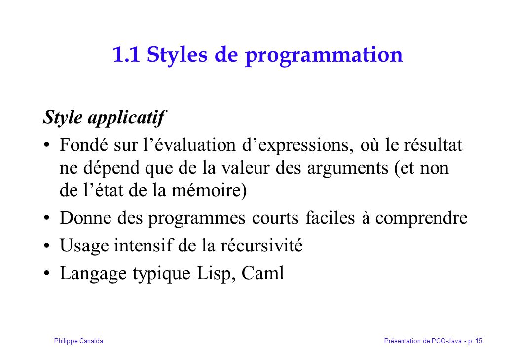 1.1 Styles de programmation