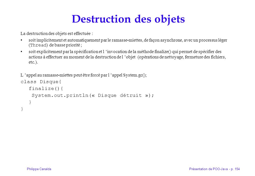 Destruction des objets