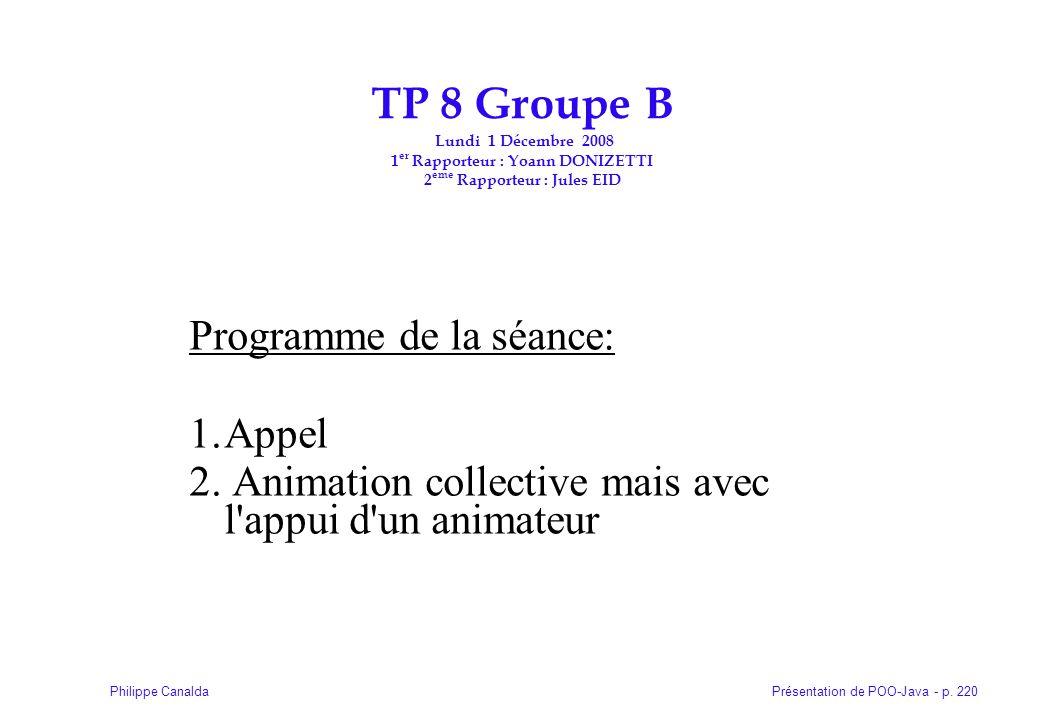 TP 8 Groupe B Lundi 1 Décembre 2008 1er Rapporteur : Yoann DONIZETTI 2eme Rapporteur : Jules EID