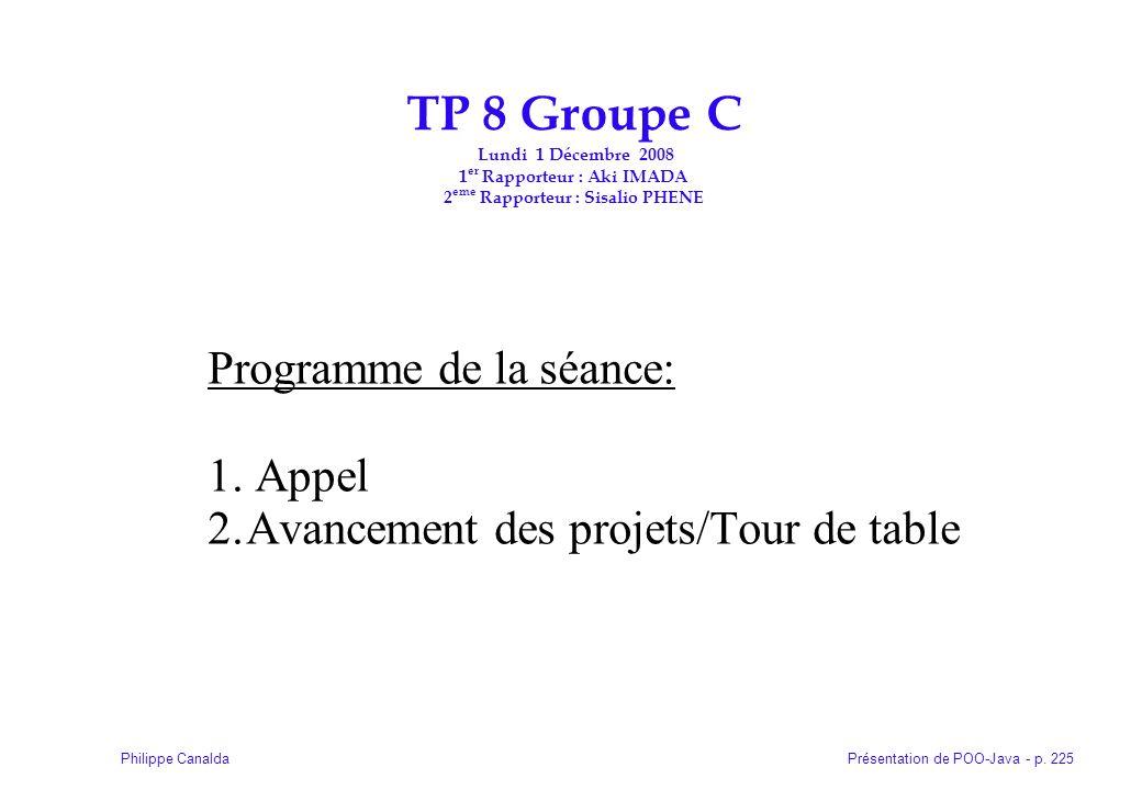 TP 8 Groupe C Lundi 1 Décembre 2008 1er Rapporteur : Aki IMADA 2eme Rapporteur : Sisalio PHENE