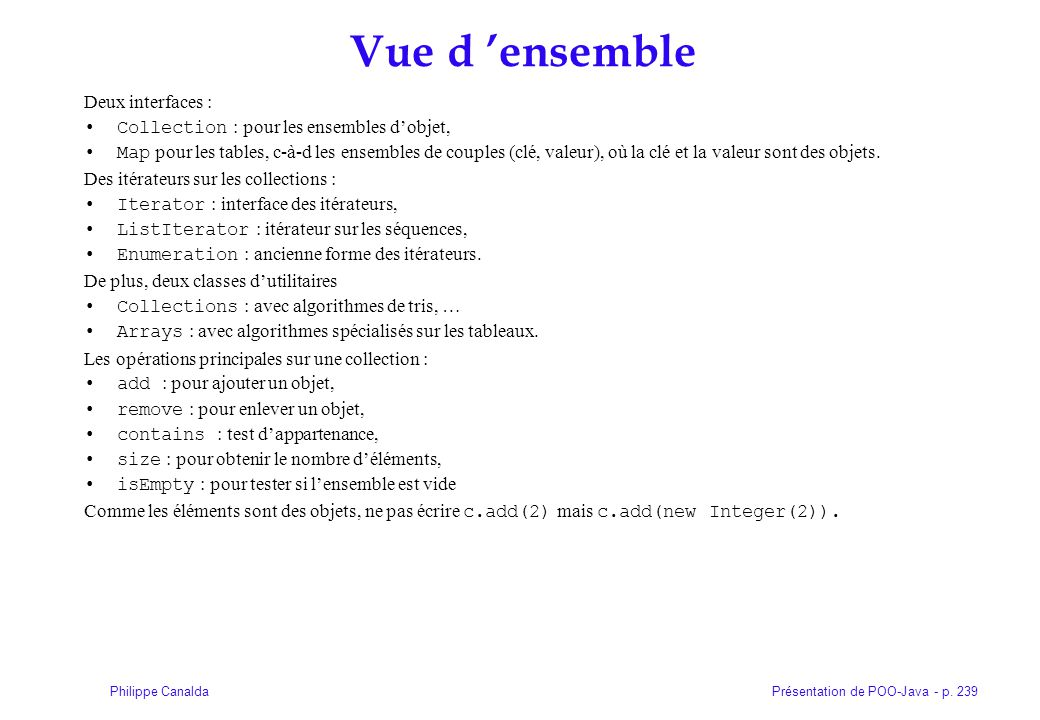 Vue d 'ensemble Deux interfaces :