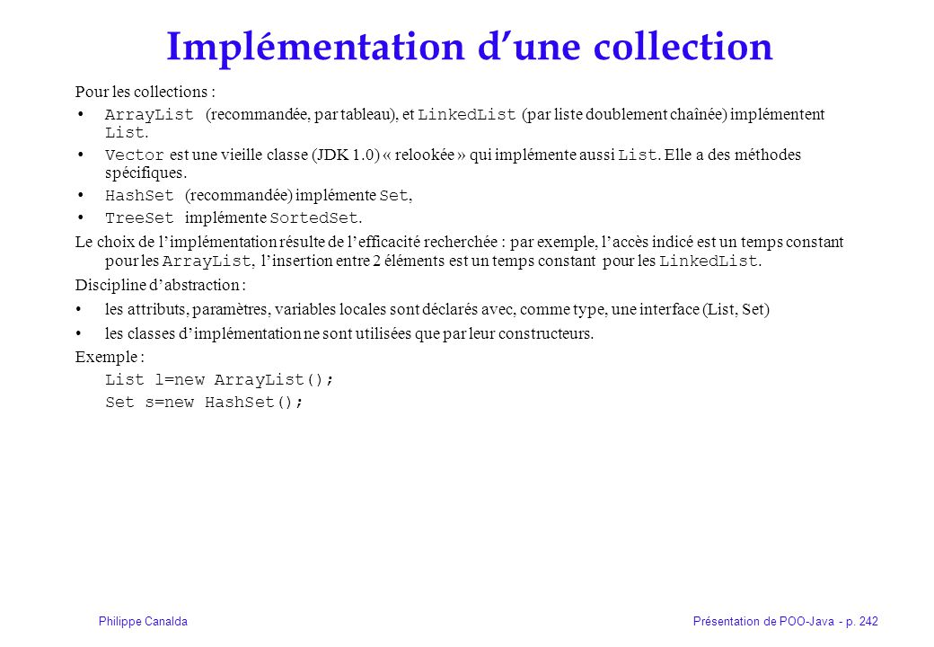 Implémentation d'une collection