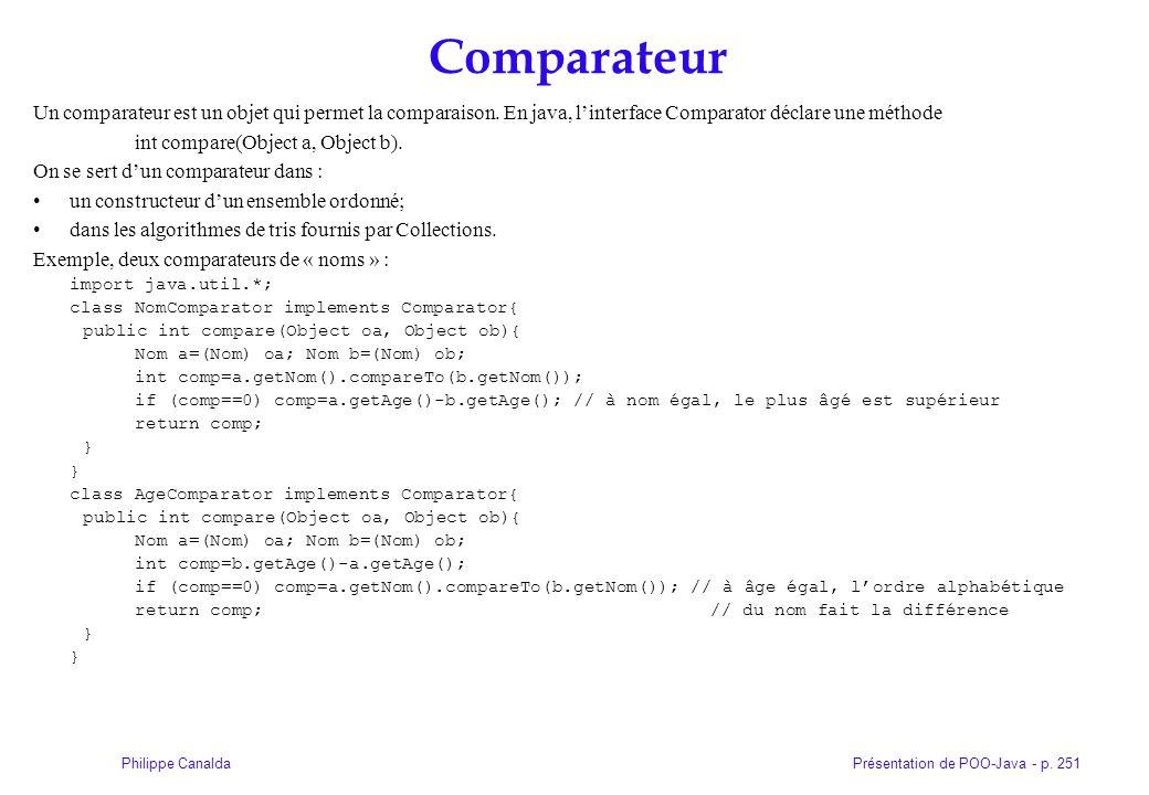 Comparateur Un comparateur est un objet qui permet la comparaison. En java, l'interface Comparator déclare une méthode.