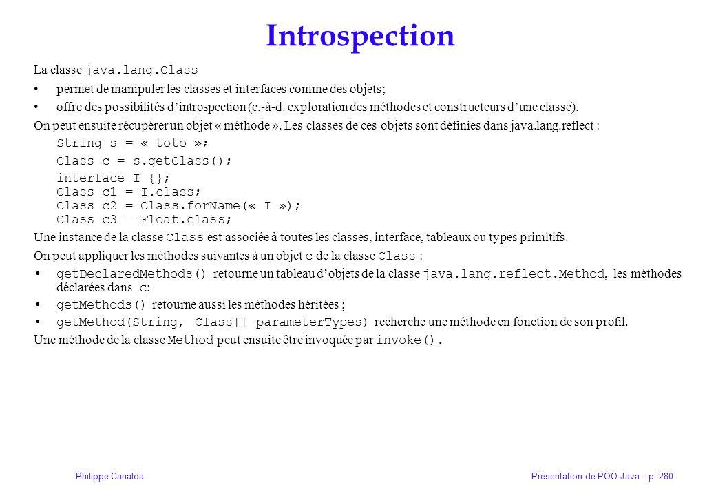 Introspection La classe java.lang.Class