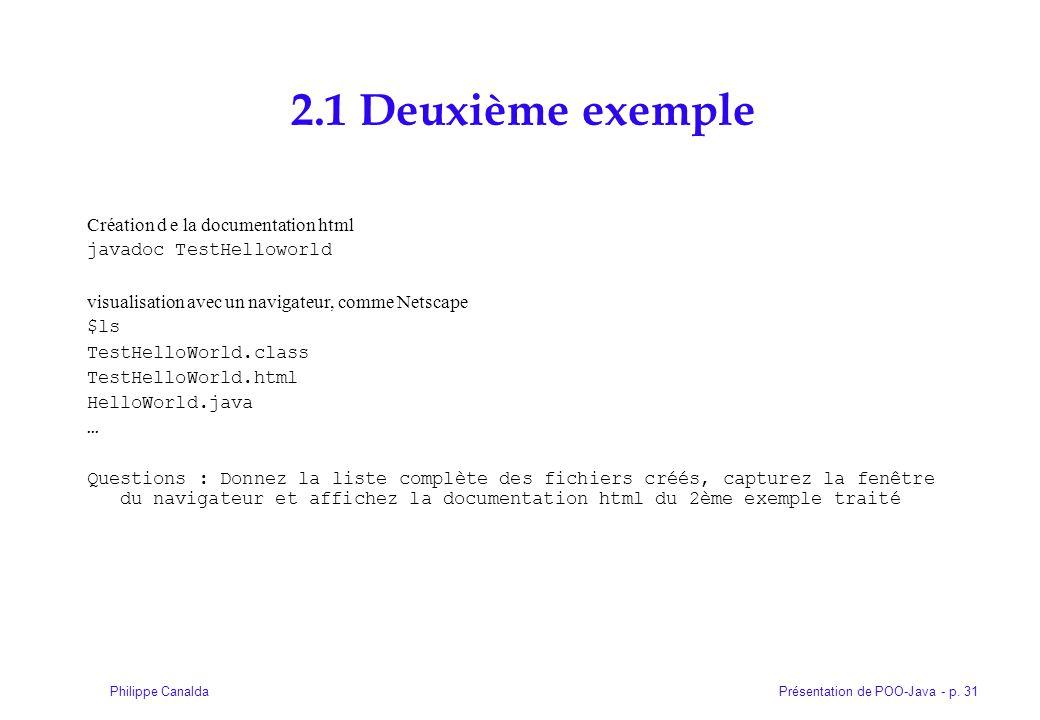 2.1 Deuxième exemple Création d e la documentation html
