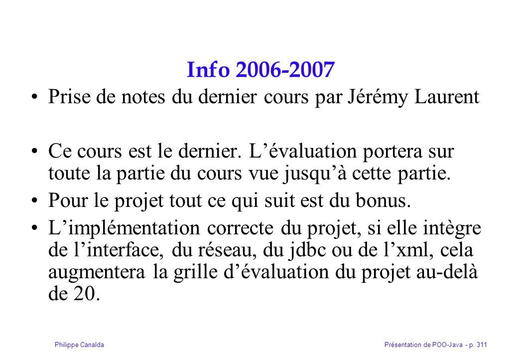 Info 2006-2007 Prise de notes du dernier cours par Jérémy Laurent