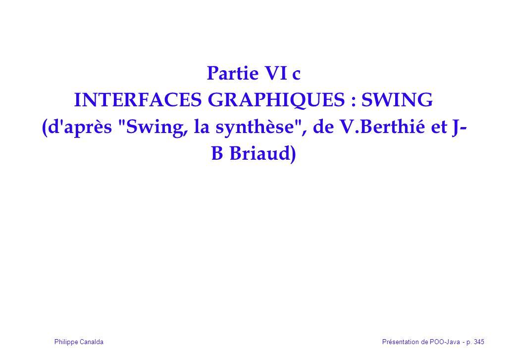 Partie VI c INTERFACES GRAPHIQUES : SWING (d après Swing, la synthèse , de V.Berthié et J-B Briaud)