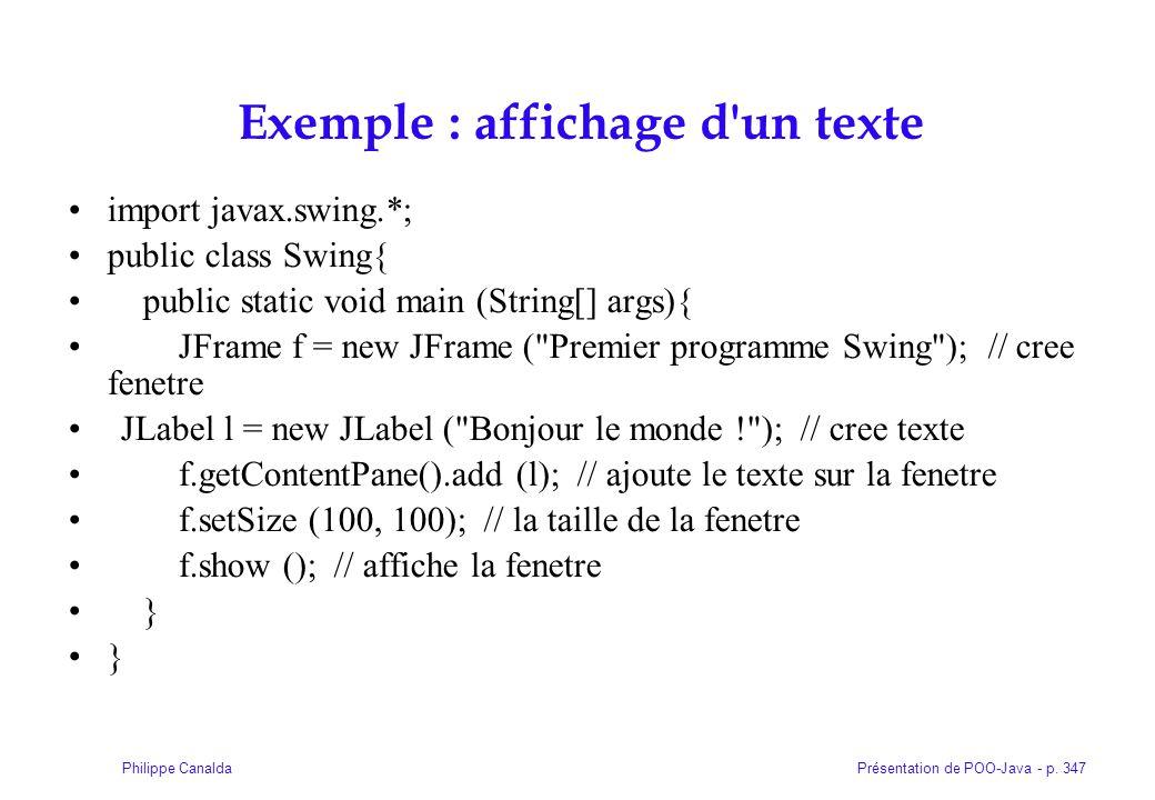 Exemple : affichage d un texte