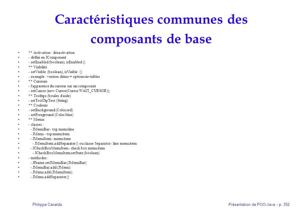 Caractéristiques communes des composants de base