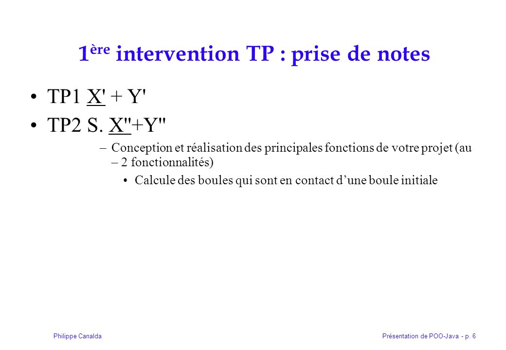 1ère intervention TP : prise de notes