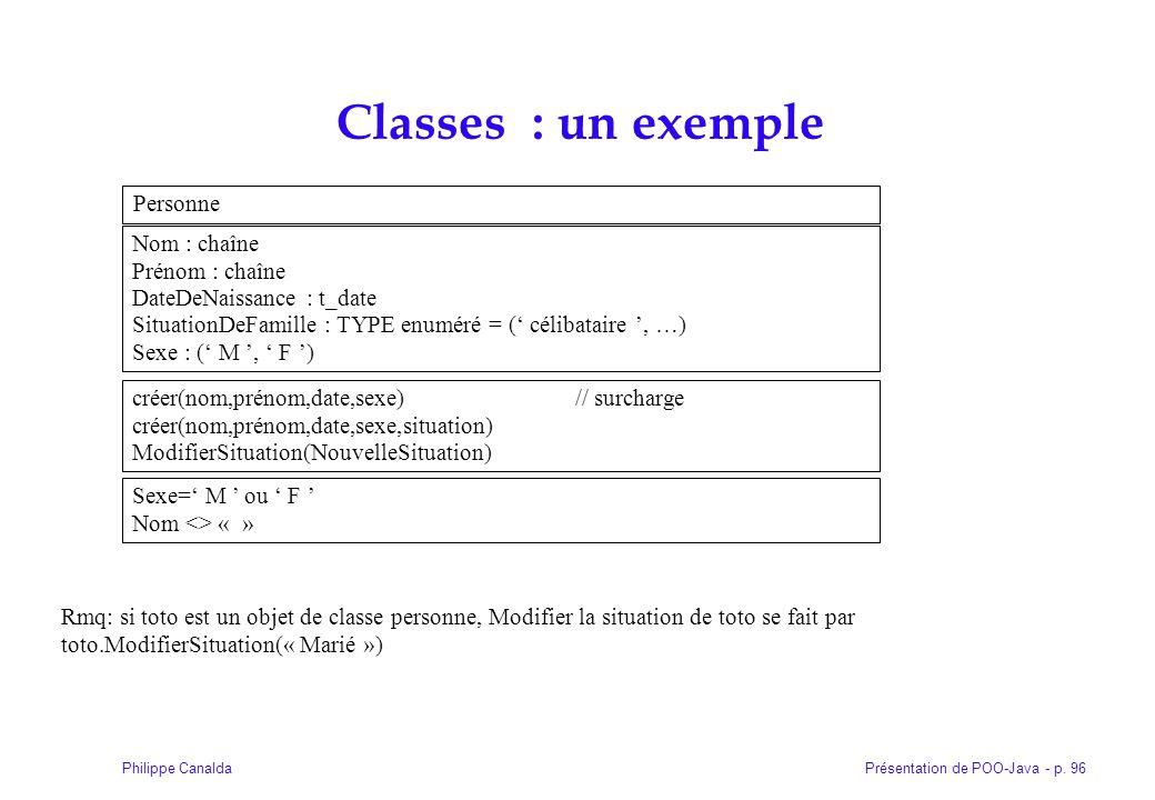 Classes : un exemple Personne Nom : chaîne Prénom : chaîne