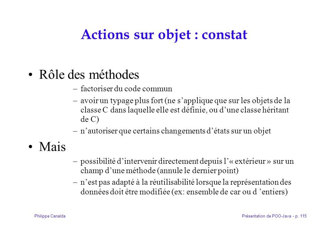 Actions sur objet : constat