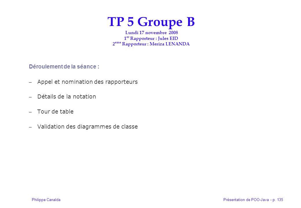TP 5 Groupe B Lundi 17 novembre 2008 1er Rapporteur : Jules EID 2eme Rapporteur : Meriza LENANDA