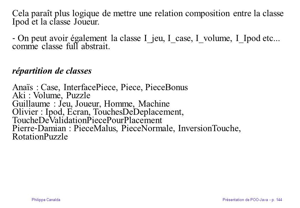 Cela paraît plus logique de mettre une relation composition entre la classe Ipod et la classe Joueur.
