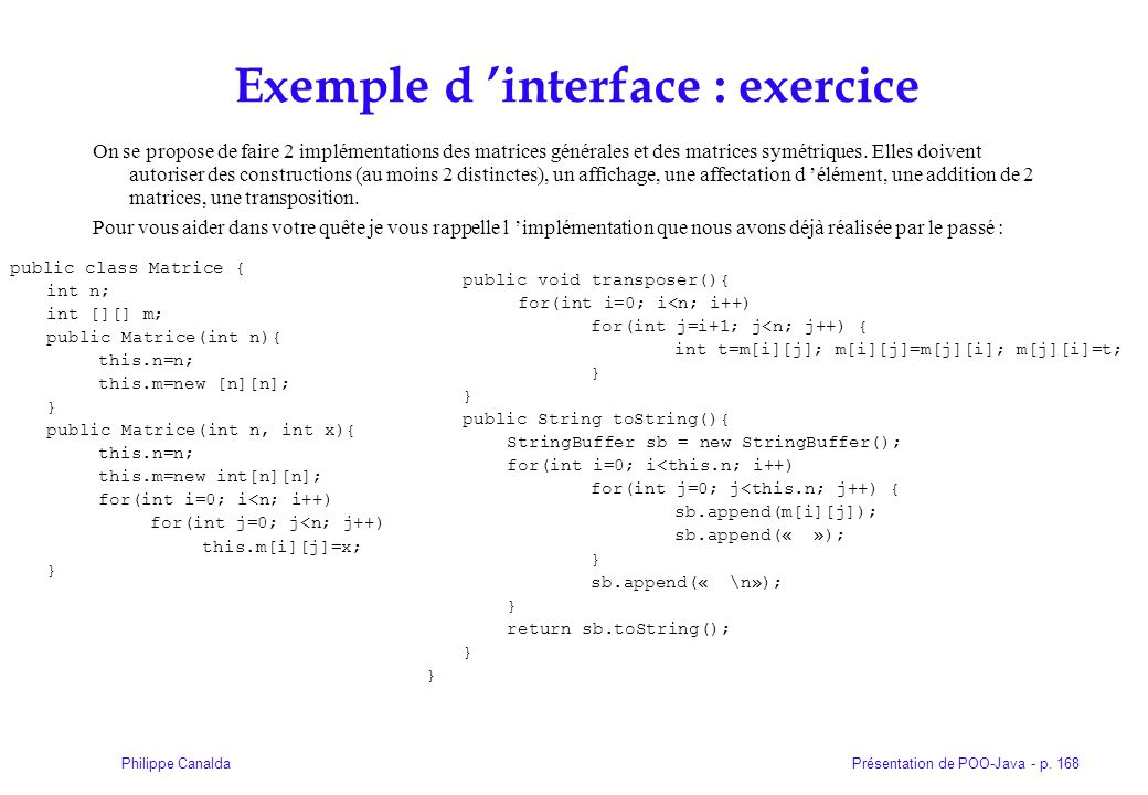 Exemple d 'interface : exercice