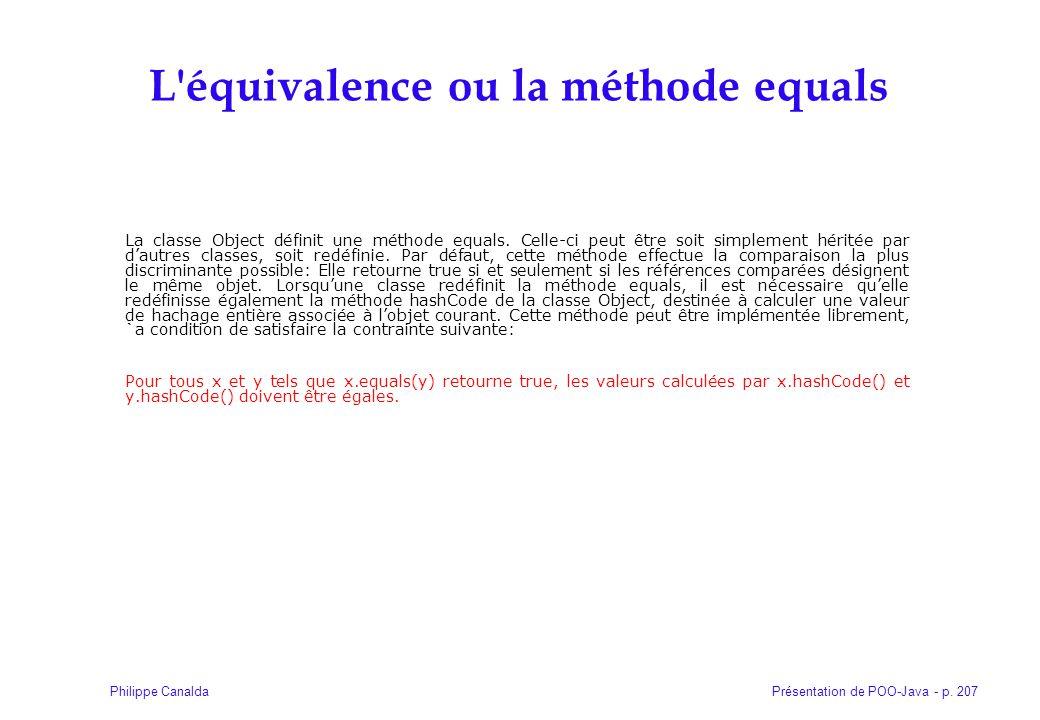 L équivalence ou la méthode equals