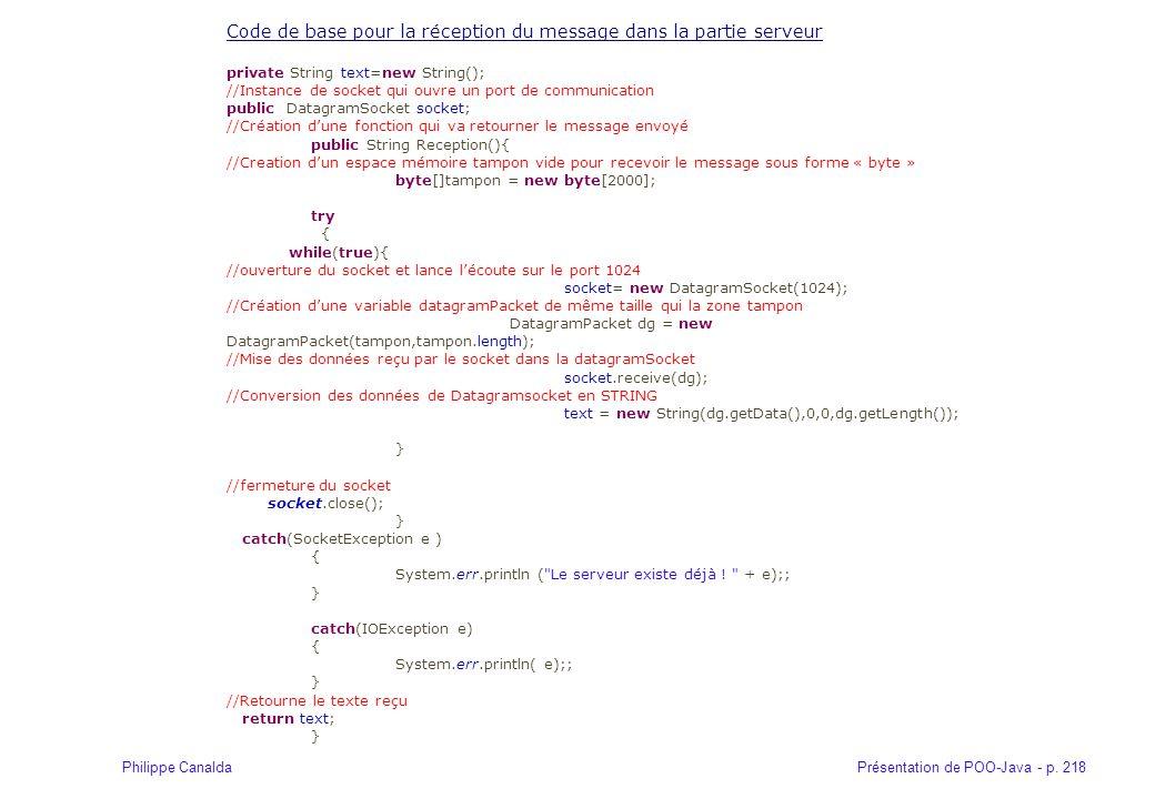 Code de base pour la réception du message dans la partie serveur