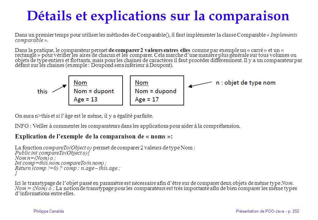 Détails et explications sur la comparaison