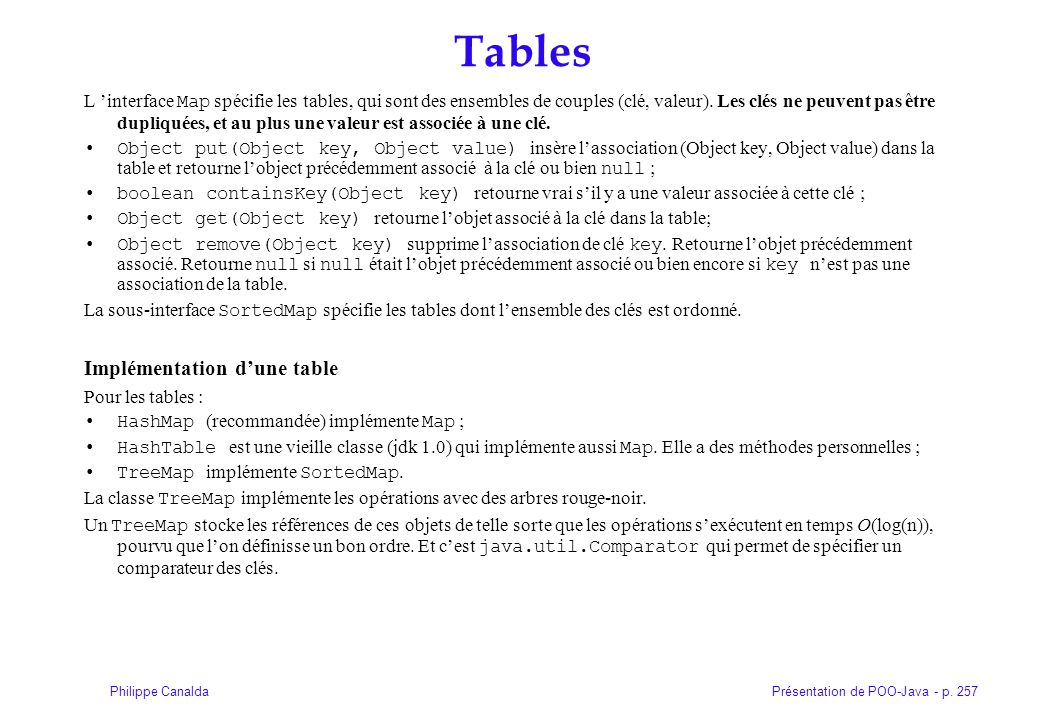 Tables Implémentation d'une table