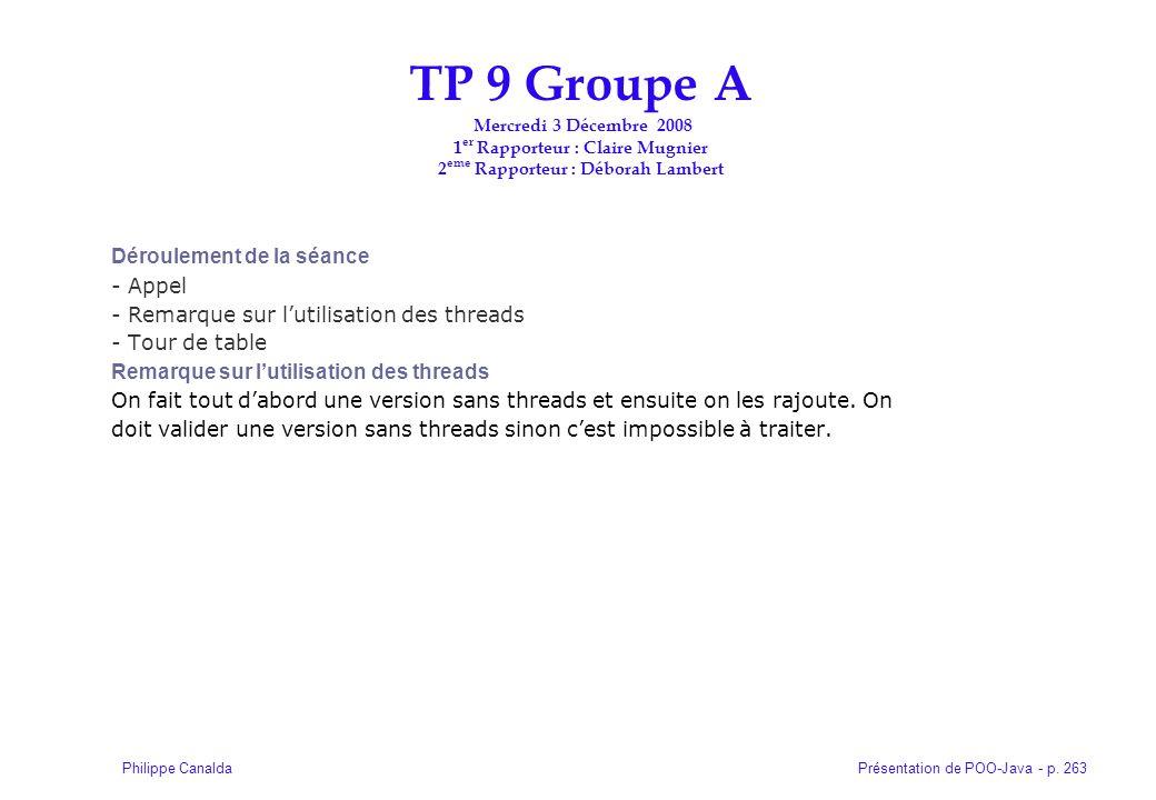 TP 9 Groupe A Mercredi 3 Décembre 2008 1er Rapporteur : Claire Mugnier 2eme Rapporteur : Déborah Lambert