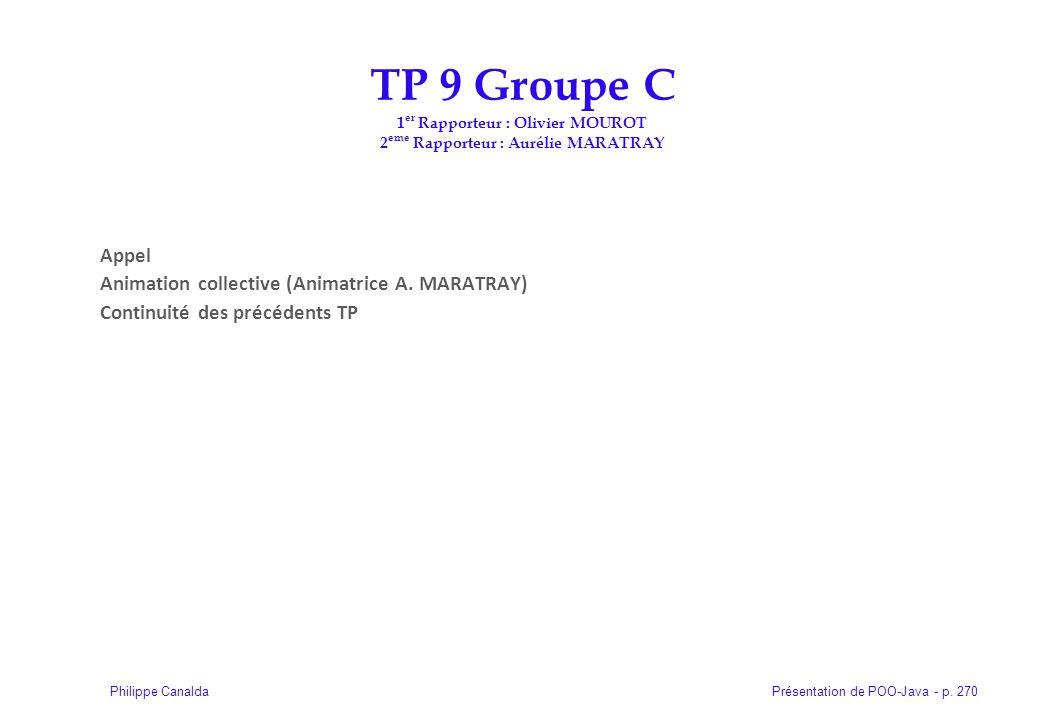 TP 9 Groupe C 1er Rapporteur : Olivier MOUROT 2eme Rapporteur : Aurélie MARATRAY
