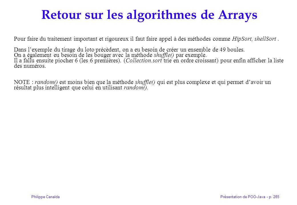 Retour sur les algorithmes de Arrays