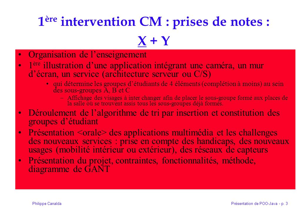 1ère intervention CM : prises de notes : X + Y