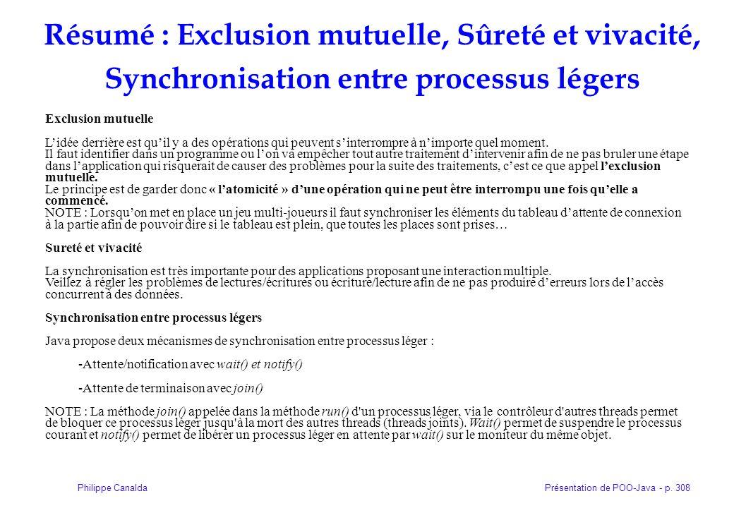 Résumé : Exclusion mutuelle, Sûreté et vivacité, Synchronisation entre processus légers