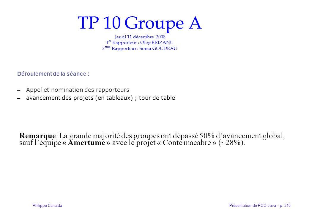 TP 10 Groupe A Jeudi 11 décembre 2008 1er Rapporteur : Oleg ERIZANU 2eme Rapporteur : Sonia GOUDEAU