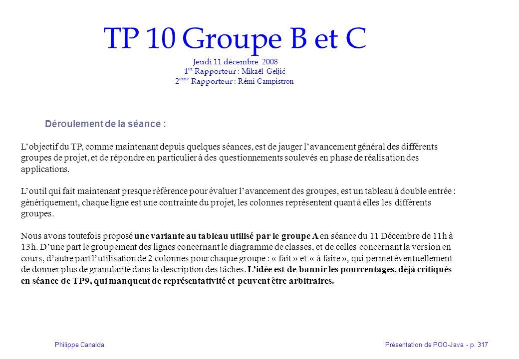 TP 10 Groupe B et C Jeudi 11 décembre 2008 1er Rapporteur : Mikaël Geljić 2eme Rapporteur : Rémi Campistron