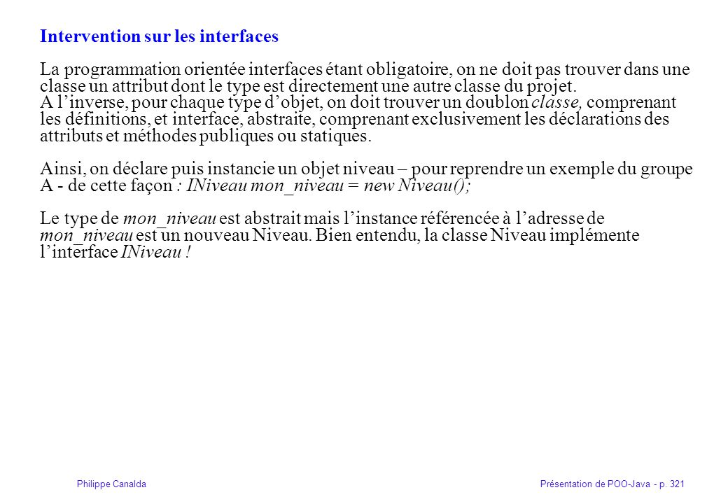 Intervention sur les interfaces