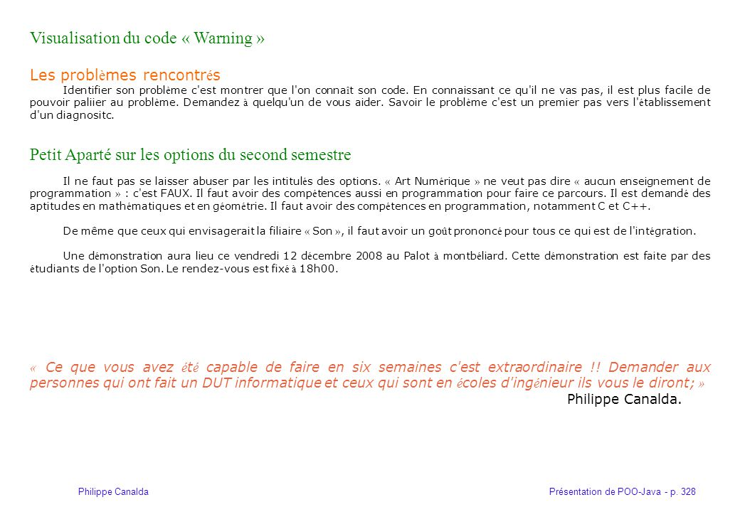 Visualisation du code « Warning »