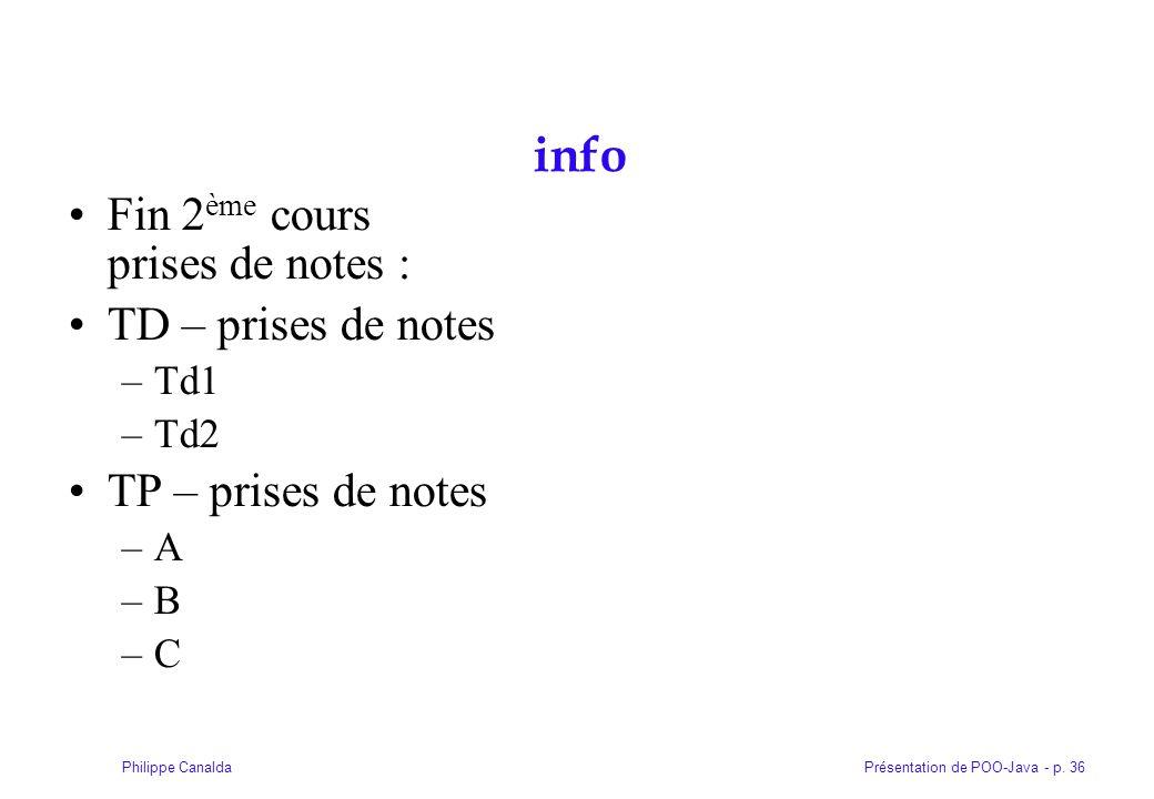 info Fin 2ème cours prises de notes : TD – prises de notes