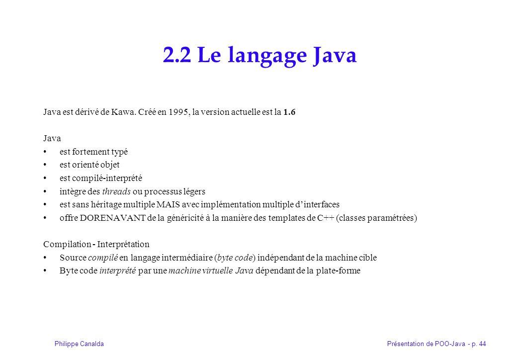 2.2 Le langage Java Java est dérivé de Kawa. Créé en 1995, la version actuelle est la 1.6. Java. est fortement typé.