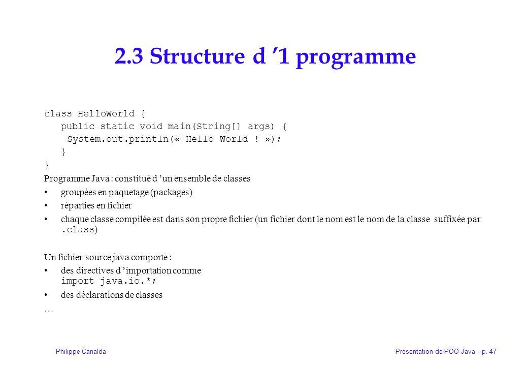 2.3 Structure d '1 programme