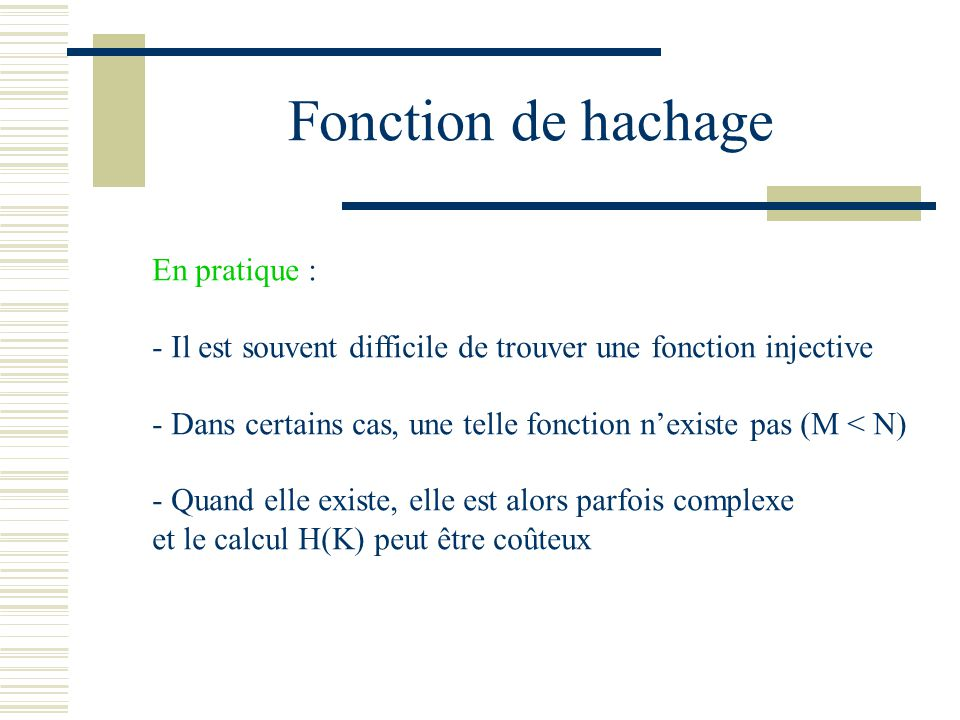 Fonction de hachage En pratique :