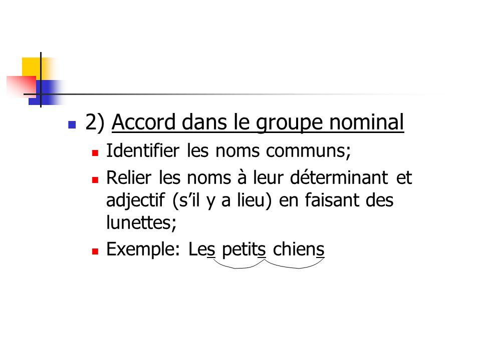 2) Accord dans le groupe nominal