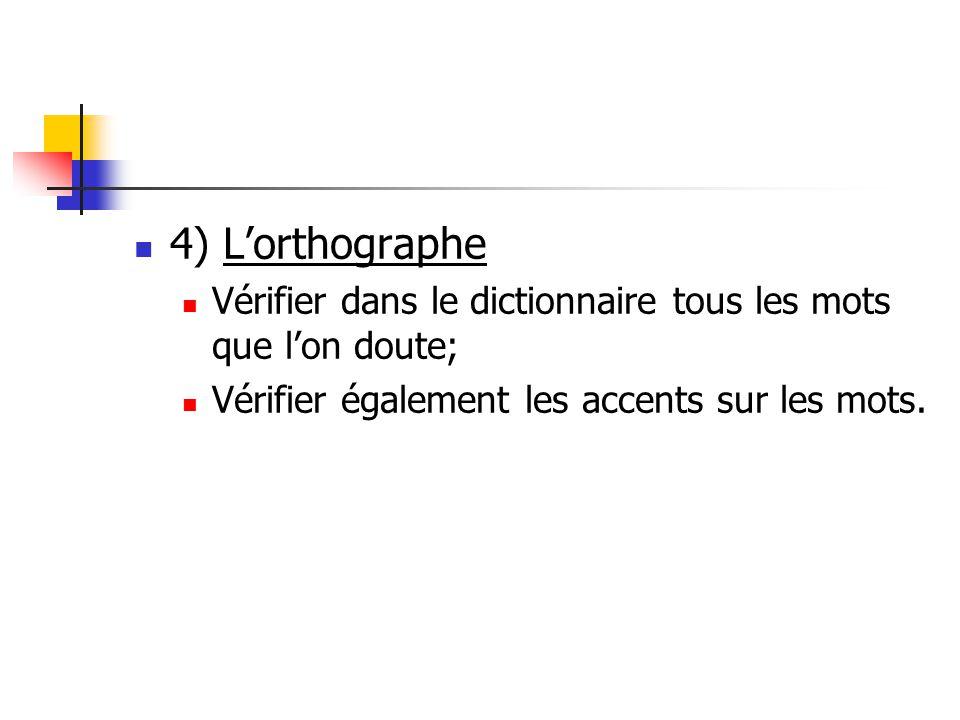 4) L'orthographe Vérifier dans le dictionnaire tous les mots que l'on doute; Vérifier également les accents sur les mots.