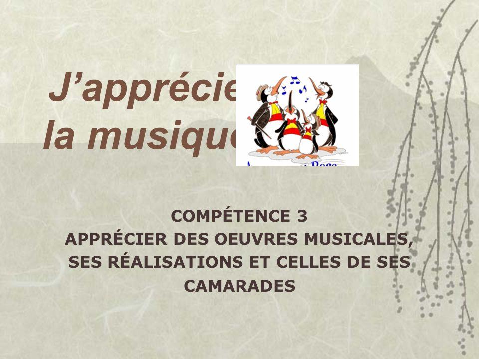 APPRÉCIER DES OEUVRES MUSICALES,