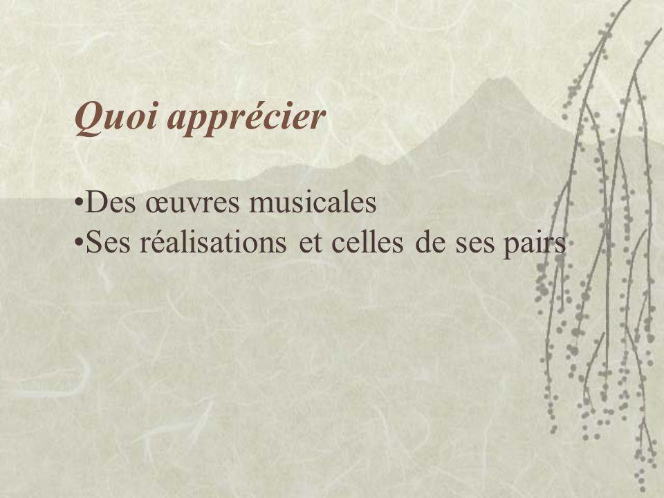 Quoi apprécier Des œuvres musicales