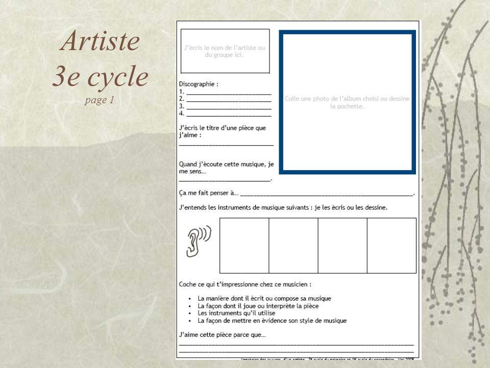 Artiste 3e cycle page 1