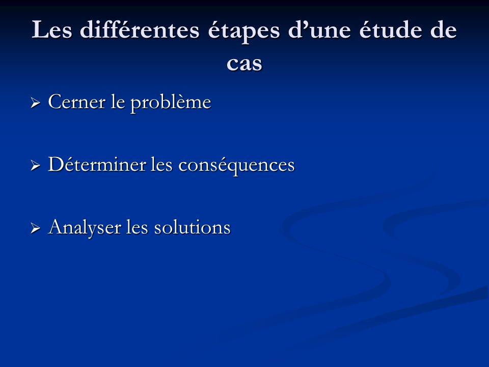 Les différentes étapes d'une étude de cas