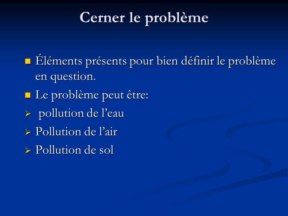 Cerner le problème Éléments présents pour bien définir le problème en question. Le problème peut être: